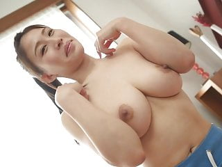 Busty JAV star Toka Rinne jumps rope and stretches