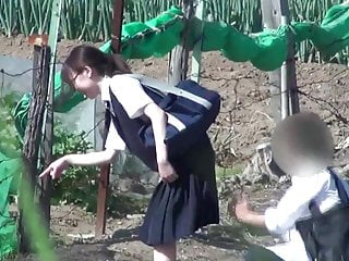 Erotic Voyeurism - Turn up the skirt of the girl student